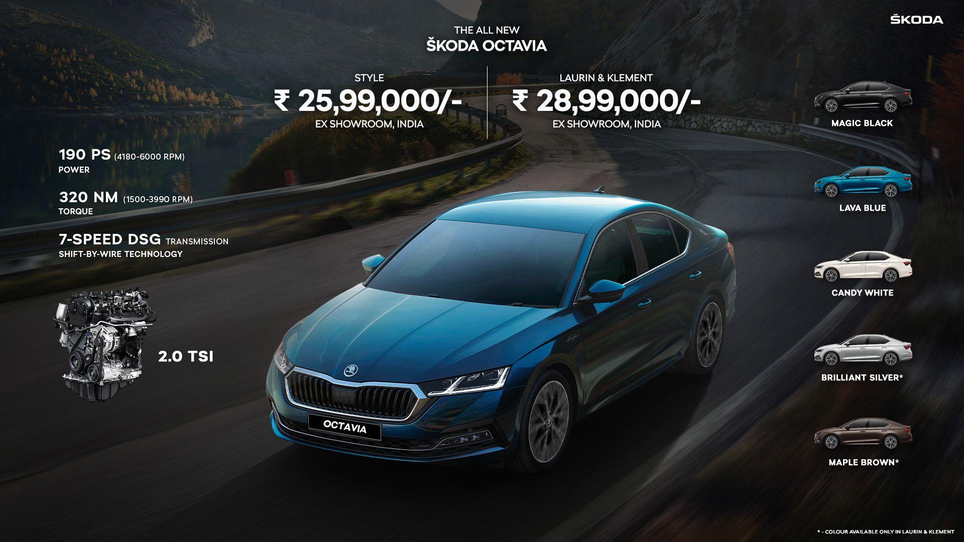 2021 skoda octavia colour price engine