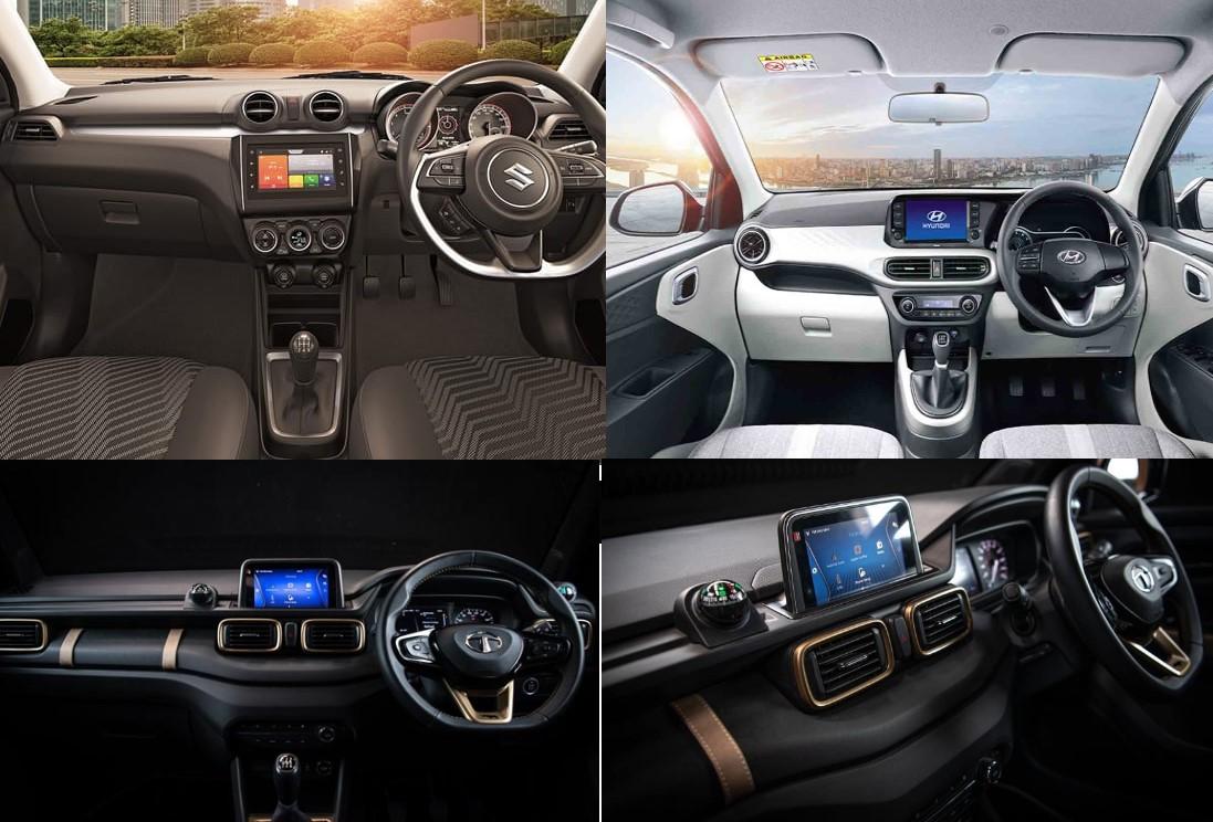 Tata HBX Hornbill Swift i10 Nios Interior Dashboard Comparison