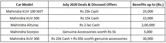 mahindra car discounts july 2020