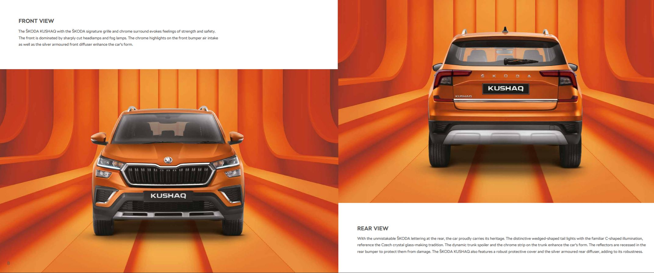 skoda kushaq brochure front and rear view
