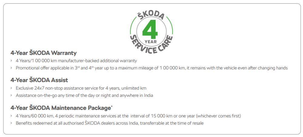 Skoda Kushaq Variants Warranty and Maintenance Brochure