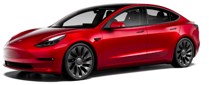 tesla model 3 exterior front view red