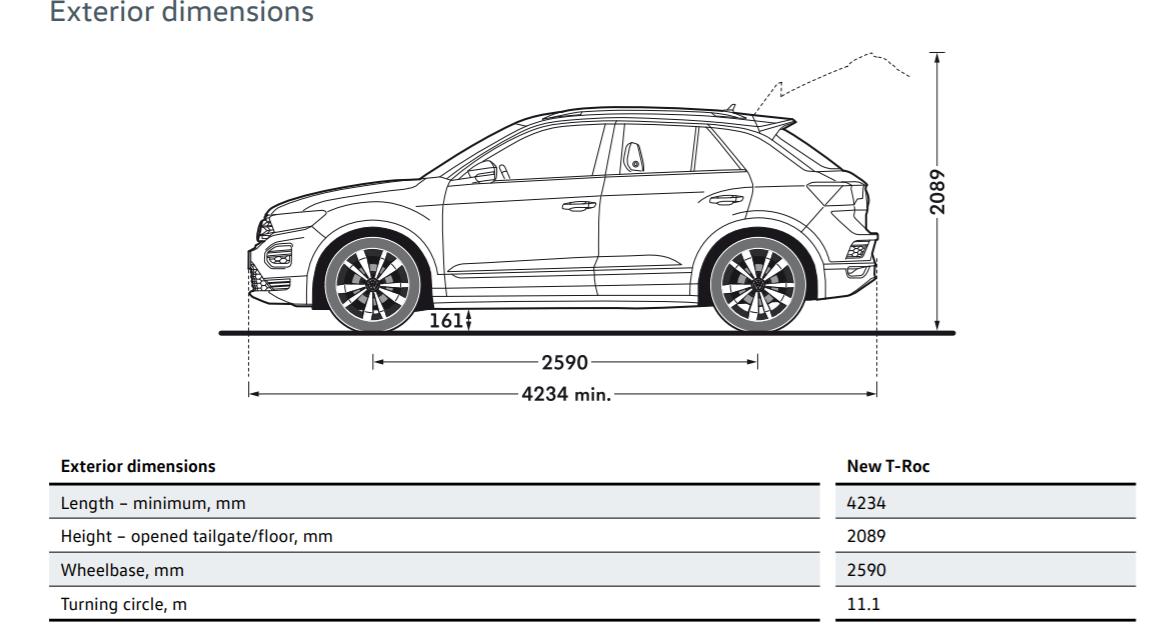 volkswagen t-roc dimensions
