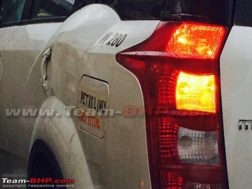 XUV 500 spotted testing with a Petrol engine