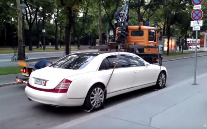 Video : Tow truck unable to tow away Maybach 62S in Austria