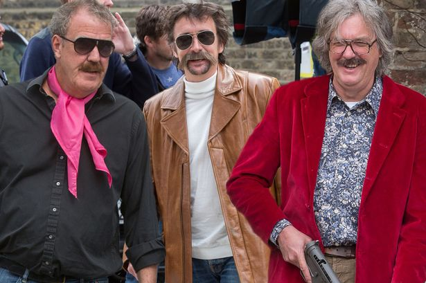 Jeremy Clarkson, James May and Richard Hammond reunite in fancy dress as they film for tour